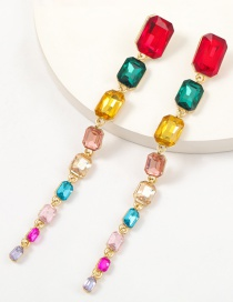 Fashion Color Alloy Diamond Square Multilayer Long Earrings