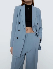 Fashion Blue Double-breasted Solid Color Blazer