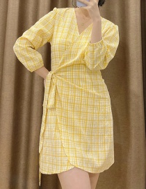 Fashion Yellow Wrap Check V-neck Belted Dress