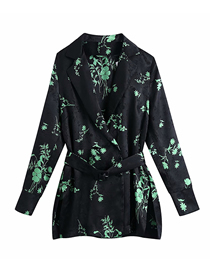 Fashion Photo Color Double Breasted Jacquard Flower Print Long-sleeved Shirt Top