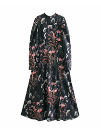Fashion Photo Color Flower Print Loose Pullover Dress