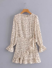 Fashion Beige Printed Round Neck Ruffled Lace-up Flared Sleeve Dress