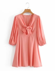 Fashion Orange Pink Puff Sleeve Slub Cotton Dress With Bow On Chest