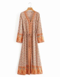 Fashion Beige Aster Print Long-sleeved Lace-up Dress