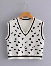 Fashion White Cow Spots Knit V-neck Vest