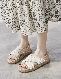 Fashion Apricot Thick-soled Straw Woven Rope Pearl Cross Strap Fisherman Shoes