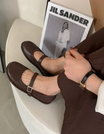 Fashion Brown Flat Shoes With Shallow Mouth Belt Buckle Round Toe