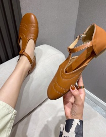 Fashion Brown Flat Buckle Flat Round Toe Hollow Shoes
