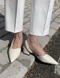 Fashion White Chunky Heel Elastic Sandals With Pointed Toe