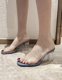 Fashion Blue One-line Stone Pattern Open-toe Crystal High-heel Slippers