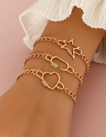 Fashion Gold Color Geometric Metal Love Five-pointed Star Bracelet