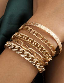 Fashion Gold Color Hollow Chain Tassel Heart-shaped Embossed Metal Bracelet Set