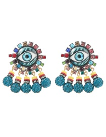 Fashion Color Alloy Diamond Resin Eyes Sunflower Tassel Earrings