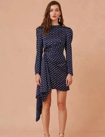 Fashion Dark Blue Irregular Printed Polka Dot Dress