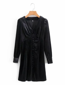 Fashion Black Velvet V-neck Buttoned Dress