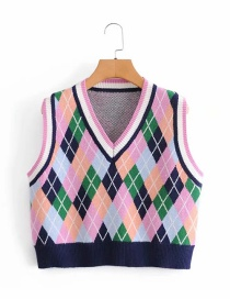 Fashion Navy Blue V-neck Contrast Color Loose Check Knitted Vest