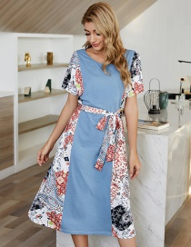 Fashion Blue Mid-length Printed Dress With Stitching Belt