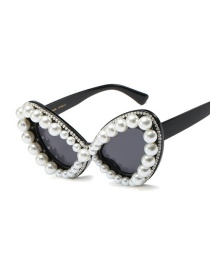 Fashion Pearl/bright Black/all Gray Butterfly Pearl Rhinestone Sunglasses