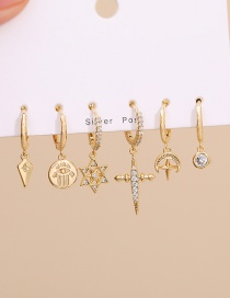 Fashion Golden Copper Inlaid Zircon Palm Star Earrings Set Of 6