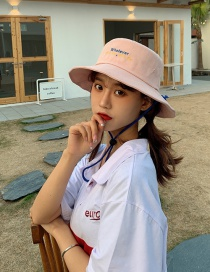 Fashion Pink Double-sided Fisherman Hat With Sunshade Embroidery Letters