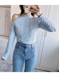 Fashion Blue Eight-strand Woven Cutout Strapless Long-sleeved Sweater