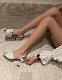 Fashion White Square Toe Strappy Open-toe Lace-up High Heels