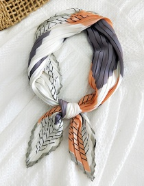 Fashion 23 Wide Wrinkled Building Blocks Thin Wire Frame Gray Orange 70cm Pleated Small Square Scarf Thin Section