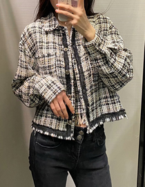 Fashion Color Mixing Checked Texture Loose Coat