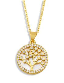 Fashion A Round Shell Diamond Tree Of Life Eye Necklace