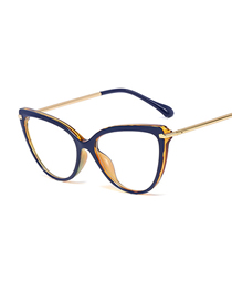 Fashion C6 Outer Blue Inner Leopard Print/anti-blue Light Cat-eye Frame Tr90 Spring Metal Legs Anti-blue Light Can Be Equipped With Myopia Glasses