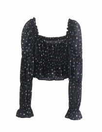 Fashion White Flowers On Black Floral Print Square Neck Puff Sleeve Top
