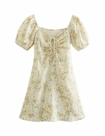 Fashion Yellow Flower On White Pleated Floral Print Dress