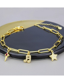 Fashion Gilded Gold-plated Musical Note Star Chain Bracelet