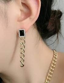 Fashion Earring Thick Chain K Gold Obsidian Necklace