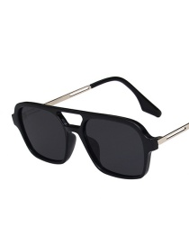 Fashion Black Frame Gray Piece Double Beam Hollow Concave Shape Square Sunglasses