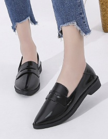Fashion Black Pointed Soft Leather Flat Shoes