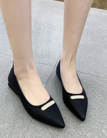 Fashion Black Chunky And Low-heeled Flat Shoes With Pointed Toe And Shallow Mouth