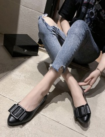 Fashion Black Pointed Toe Low-top Low-heel Square Buckle Shoes