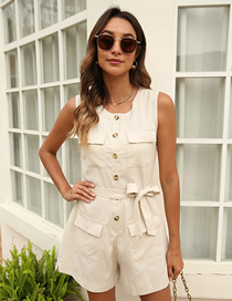 Fashion Off-white Cotton And Linen Crew Neck Tooling Tie Overalls