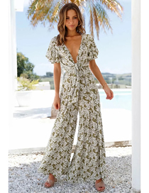 Fashion Green Printed Jumpsuit With Tie On Chest