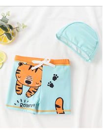 Fashion Digostar New Tiger + Hat Childrens Cartoon Pattern Swimming Trunks Boxer Swimming Trunks + Swimming Cap Swimming Suit