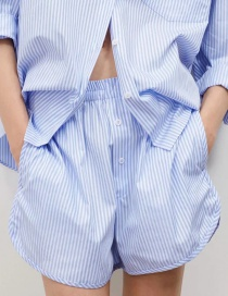 Fashion Blue Stripes Striped Suit Shorts