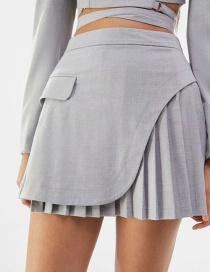 Fashion Gray Wide Pleated Mini Skirt