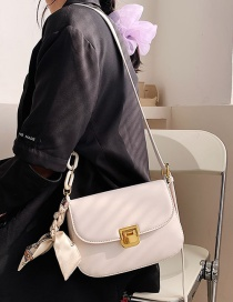 Fashion White Silk Scarf Crossbody Shoulder Bag
