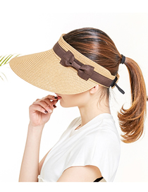 Fashion Khaki Sunscreen Empty Straw Woven Foldable Sun Hat