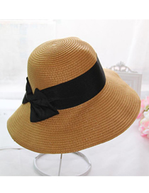 Fashion Straw Hat-brown Yellow Foldable Sunscreen Bowknot Cuffed Straw Hat