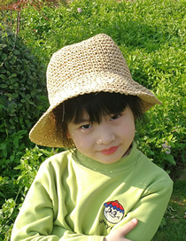 Fashion Khaki Childrens Sunscreen Straw Hat
