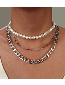 Fashion Silver Thick Chain Imitation Pearl Multilayer Necklace