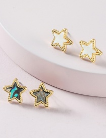 Fashion Suit Star Five-pointed Star Abalone Shell Mini Earrings