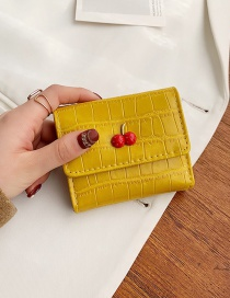 Fashion Yellow Cherry Crocodile Pattern Coin Purse